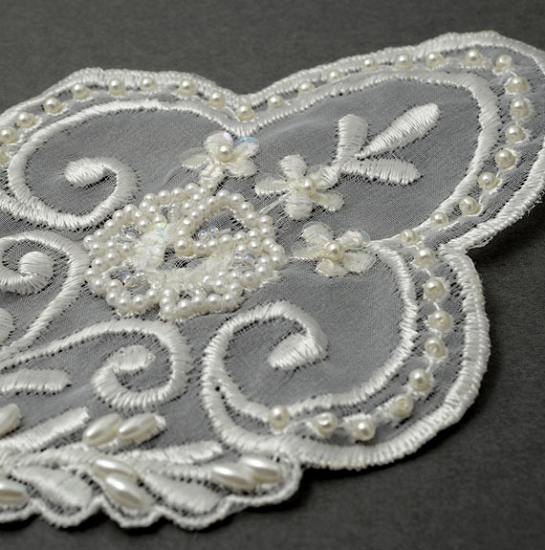 Pearl beaded sequin lace applique bridal