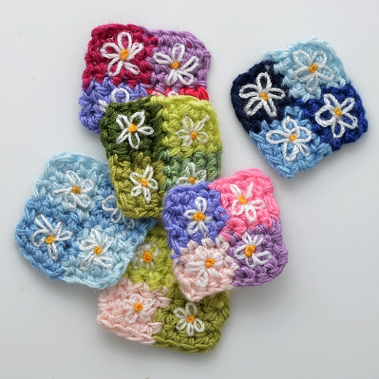 Flower Squqre Quilt Crochet Applique, CR-DES-CBK4