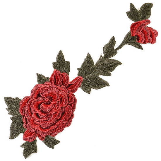 Embroidered rose floral iron on applique patch joyce