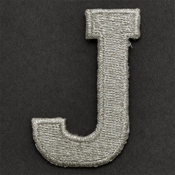 """Silver Letter I: SILVER Alphabet Letter Iron-on Patch Applique - 1"""""""