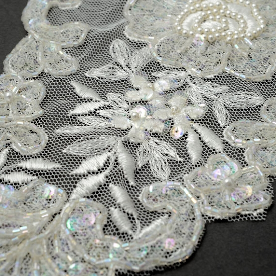 Pearl beaded sequin embroidery lace collar bridal applique