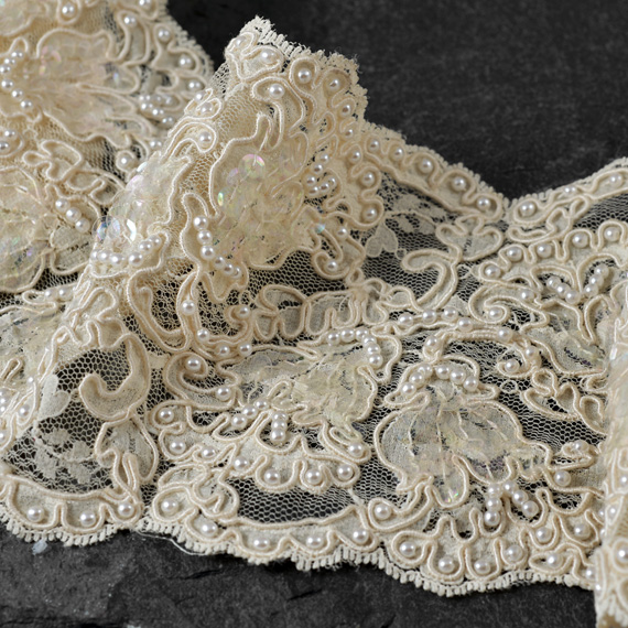 Sequin Beaded Flower Embroidery Lace Trim - 4-1/2 Inch | Joyce Trimming