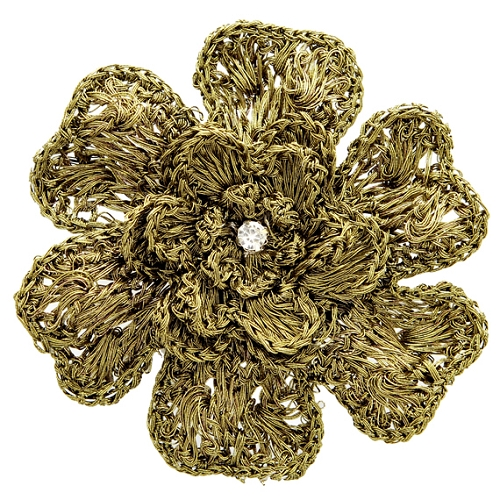 Crochet Hair Pins : Crochet Flower Pin, Hair Clip, Headband, 3-1/4D, ENK-MF018001