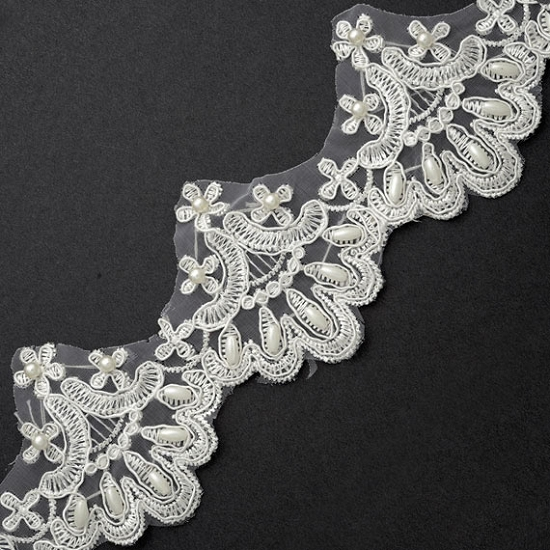 Pearl beaded embroidery lace trim inch joyce trimming