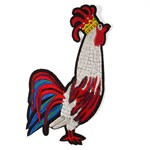 Rooster Cartoon Embroidered Sequin Iron-On Applique Patch by PC, TR-11283