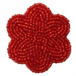 Flower shape Beaded Applique Patch by PC, FF-FF1594