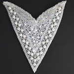Pearl, Sequin & Beaded Neckline Applique Patch by PC, FF-V273