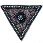 Pearls Sequin Beaded Triangle Applique Patch by PC, FF-189