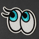 Cartoon Eyes Embroidered Iron-On Applique Patch by PC, TR-11312