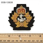 Gold Bullion Wire Embroidered Crest Sew-on Applique Patch Badges, by PC, OSB-13838