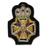 Crown Bullion Wire Embroidered Badges, Sew-on Applique Patch by PC, OSB-25238