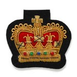 Crown Bullion Wire Embroidered Badges, Sew-on Applique Patch by PC, OSB-25240