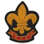Fleur-De-Lis Bullion Wire Embroidered Crest Sew-on Badge Applique Patch by PC, OSB-25243