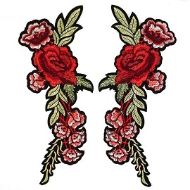 Mirror Pair Embroidered Floral Iron-On Applique Patch by PAIR, TR-11445