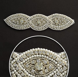 Rhinestone Pearl Applique, Bridal Applique by PC, TR-10530