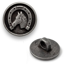 20mm Horse Head in Horseshoe Metal Button, DIL-310756