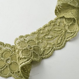 "1-3/4"" Flower Raschel Stretch Lace Trim by YD, STEP-3802"