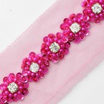 Rhinestone Beaded and Sequin Trim by 1 yard, TR-10953