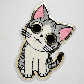 Cat Chenille Embroidered Iron-On Applique Patch by pc, TR-11353