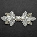 Pearl Beaded Applique, Bridal Applique by PC, FF-3662
