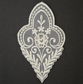 Pearl Beaded Sequin Lace Applique, Bridal Applique, Embroidery Lace by PC, ROI-M3551