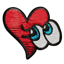 Heart and Cartoon Eyes Sequin Iron-On Applique Patch by PC, TR-11482