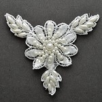 Pearl Beaded Sequin Applique patch by 2 pcs , ROI-44555