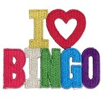 ''I LOVE BINGO'' Iron-on Patch Applique, T-06475