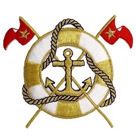 Nautical Lifering with Flags IRON-ON PATCH, IA-T00275