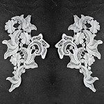 Mirror Pair Flower Lace Applique by Pair, SP-2291