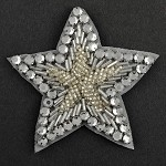 Star Rhinestone Beaded Applique, Beaded Patch by PC, FF-112-3
