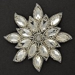 Rhinestone Beaded Applique, Beaded Patch by PC, FF-390