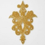 Rhinestone Beaded Applique, Beaded Patch by PC, FF-818