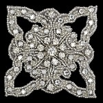 Bridal Rinestone & Beaded Applique Patch by PC, FF-J06-176
