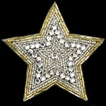 Star Rhinestone Beaded Applique, Beaded Patch by PC, FF-6260A