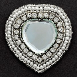 Heart Rhinestone Pearl and Beaded Applique Patch by PC, TR-10615