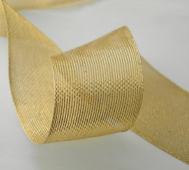 "2"" Metallic Gold Netting Wired Mesh Trim by yard,  TR-10994"