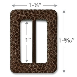 "1-1/8"" Rectangle Imitation Leather Buckle by pc, SAN-34508"