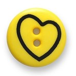 2-Hole Heart Plastic Button, DIL-211629