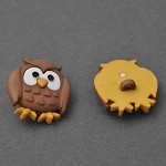 22mm Owl Plastic Button with Shank Back by 1 pc, LORI-878