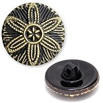 Glass Flower Button with Shank, BEA-242H20902/1