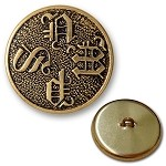 27mm Vintage Metal Round Button by pc, BS-1235