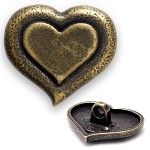Heart Metal Button, Gold,Silver, DIL-360414