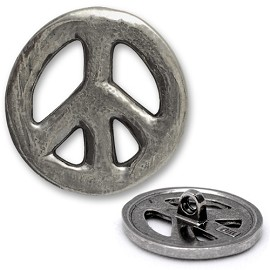 Peace Metal Button with Shank, DIL-380224