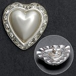 Heart Rhinestone/Pearl Button with Shank, FF-HP700
