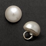 White Plastic Pearl Button with Shank by 6 pcs, GN-4583