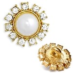 Rhinestone and Pearl Button with Shank, T-1275