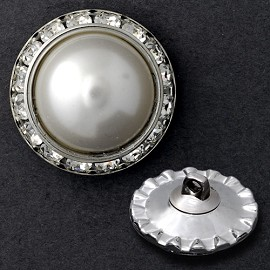 25mm Rhinestone and Pearl Button with shank back by pc, T1336A