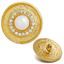 Rhinestone and Pearl Button with Shank, T-1365/1367
