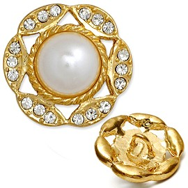 Rhinestone and Pearl Button with Shank, T-1393